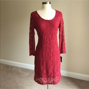 Marina Red Sequined Lace Sheath Cocktail Dress